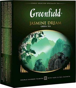 Зеленый чай в пакетиках Greenfield Jasmine Dream ароматизированный, 100 шт