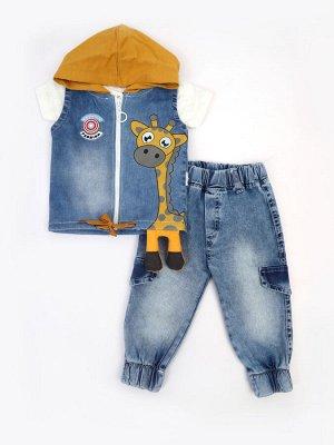 Комплект для мальчика: футболка, брюки джинсовые и жилет с эффектом света