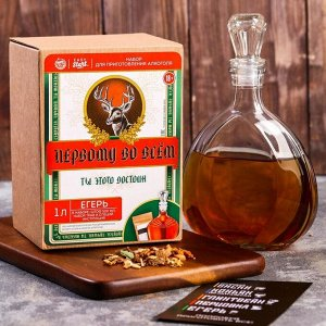 Подарочный набор для приготовления алкоголя «Егерь»: травы и специи 36 гр., штоф 0,5 л