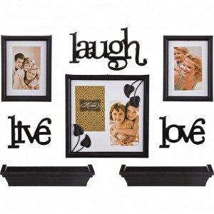 """Подарочный фотонабор из 8-пр.темный """"life,laugh,love"""" 25*10, 16*21, 26*26 см. (кор=6 наб.)"""