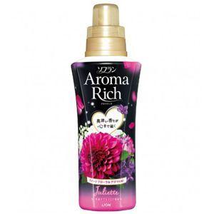 Кондиционер для белья LION SOFLAN AROMA RICH с богатым ароматом натуральных масел ДЖУЛЬЕТТ (крышка с дозатором) с ароматом жасмина, розы, сладкого янтаря. ванили 520 мл