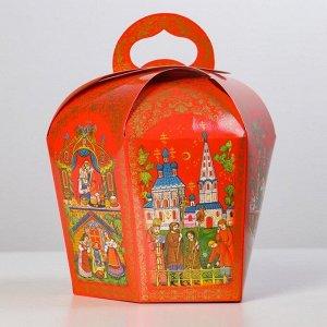 """Коробка для кулича """"Палех красный"""" диаметр 13,4 см"""