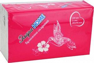 Салфетки бумажные ЭлараHOME 2-слойные 200шт в пакете
