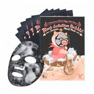 НАБОР Тканевая маска для лица ПУЗЫРЬКОВАЯ Witch Piggy Hell-Pore Black Solution Bubble Serum Mask Pack, 5 шт