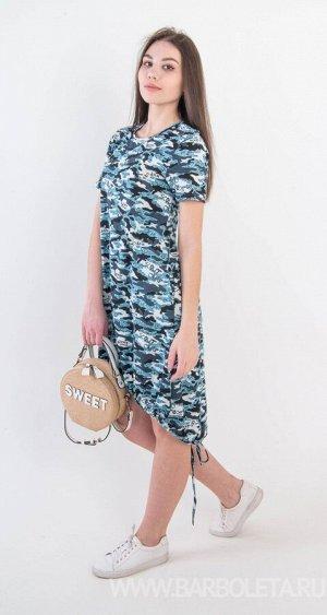 Платье Материал: Кулирка Состав: 100% Хлопок Платье трапециевидной формы для женщин младшей и средней возрастной группы, линия низа ассиметричная, по низу изделие собирается на шнурок. Рукав втачной б
