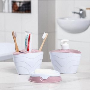 Набор аксессуаров для ванной комнаты QLuX, 3 предмета (мыльница, подставка для щёток, дозатор), цвет МИКС
