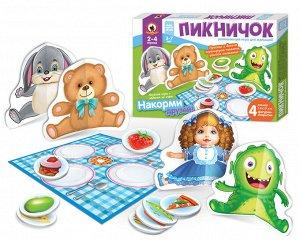 Игра настольная для малышей с объемными фигурками «Пикничок»