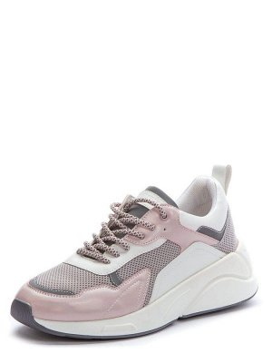 817122/02-05 розовый/серый иск.кожа/текстиль женские полуботинки (В-Л 2021)
