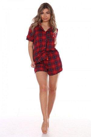 Пижама женская Классика(красная,шорты)