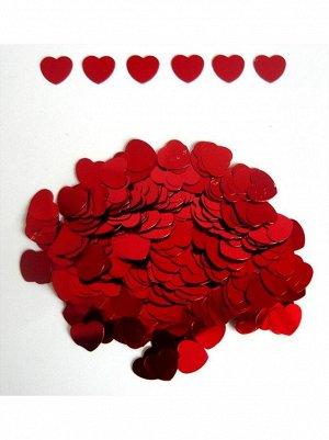 Конфетти Сердца красные 12 мм 14 гр