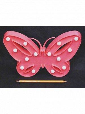Фигура световая Бабочка 26 х 17 см цвет розовый пластик