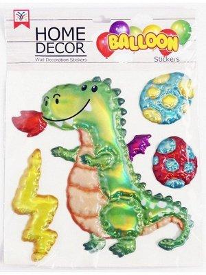 Наклейка объемная Динозавр пластик упаковка 305 х 315 мм