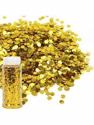 Блестки Конфетти для декора 90 гр цвет золотой