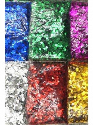 Конфетти Сердечки 0,6 см голография 100 гр цвет МИКС