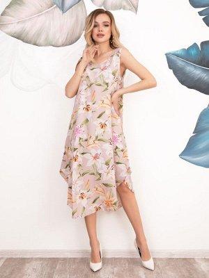 Розовый асимметричный сарафан с цветочным принтом