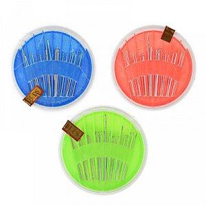 Набор швейных игл 24шт в пластиковом круглом боксе, сталь