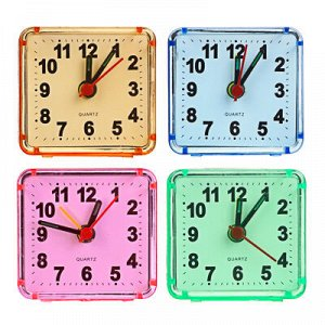 С LADECOR CHRONO Будильник, пластик, 5,7х5,5х2,7см, 4 цвета, 1хАА, арт 1-1