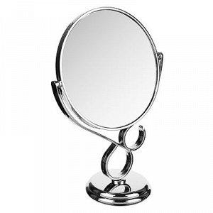 ЮниLook Зеркало настольное круглое, пластик, стекло, 17,5х29х10см, серебро, 1018