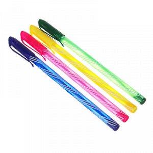 """Ручка шариковая синяя, с цветным """"закрученным"""" корпусом, 0,7 мм, 4 цвета корпуса, инд. маркировка"""