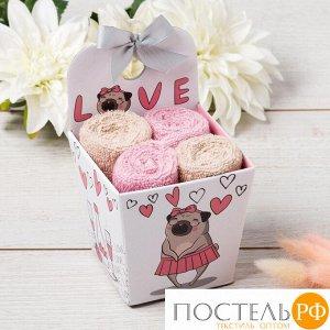"""Набор махровых полотенец """"Love"""" 30х30 см - 4 шт, 100% хлопок, 340 гр/м2 5516714"""