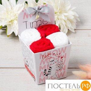 "Набор махровых полотенец ""Time to love"" 30х30 см - 4 шт, 100% хлопок, 340 гр/м2 5516718"