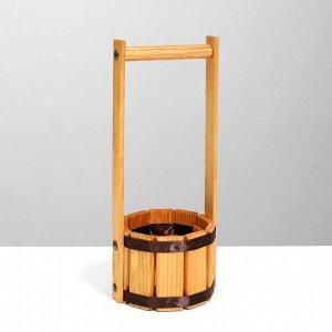 """Кашпо деревянное """"Прованс"""", с лентой, h = 8, hh = 28 см, d = 10 см"""