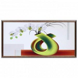 """Картина """"Белая орхидея в вазе"""" 33х70(36х73) см"""