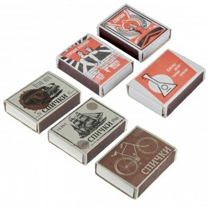 С Спички бытовые, БЛОК 10 коробков 7,5х6,5х5,1см, осина, картон, зажигательная масса.