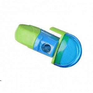 Точилка для карандашей с контейнером и ластиком 6,5x3см, ассорти 2 цвета
