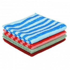 Набор салфеток из микрофибры, 4 штуки, 30x30 см, 220г/кв.м., 4 цвета, VETTA