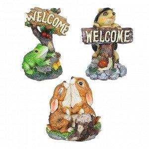 """INBLOOM Фигура садовая """"Пара зайцев, лягушка, ежик"""", h21-24см, полистоун, 3 дизайна"""
