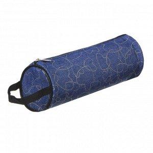 Пенал мягкий круглый, 21х7х7см, с ручкой, джинсовый материал, с антисмин. вклад., 4 дизайна