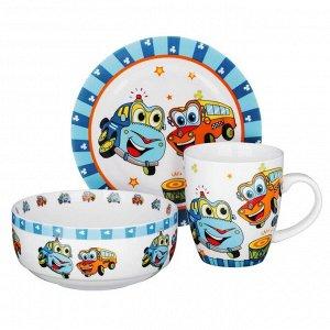 Набор детской посуды: тарелка 18 см, суповая тарелка 12,5х5,5 см, кружка 215 мл, костяной фарфор MIL