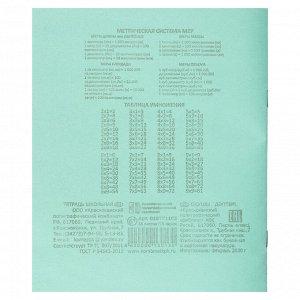 Тетрадь школьная 18л. в клетку, БЕЛЫЕ ЛИСТЫ, зеленая обл., скрепка