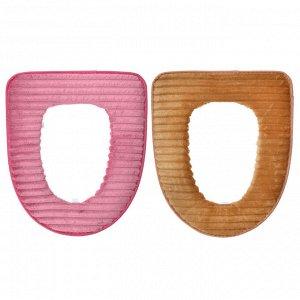 """VETTA Чехол для сиденья унитаза 44х37см, искусственный мех, ПВХ, """"Велюр"""" , 2 цвета"""