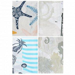 """VETTA Шторка для ванной, полиэстер, 180x180см, """"Подводный мир"""", 4 дизайна"""
