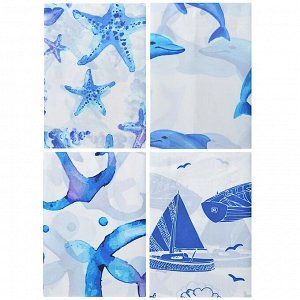 """VETTA Шторка для ванной, полиэстер, 180x180см, """"Морской бриз"""", 4 дизайна"""
