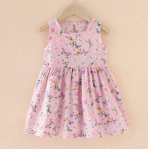 Платье для девочки, цвет розовый, принт бабочки