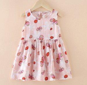 Платье для девочки, цвет нежно-розовый, принт бабочки, божьи коровки