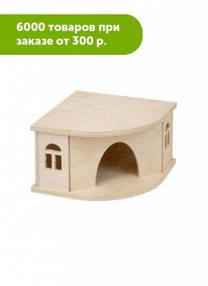 """Домик для грызунов """"Угловой"""" деревянный 13*13*h8см ECO"""