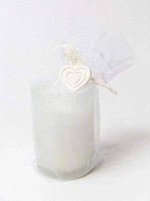 """Свеча ароматизированная """"Abrige"""" Floox, 7х7х9,5 см, цв.белый, парафин, вес 110 гр, аромат """"свежий хлопок"""", в стеклянной шкатулке"""