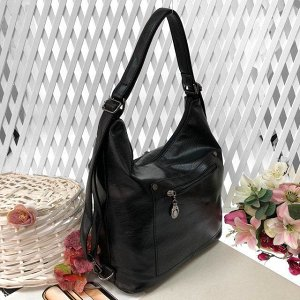 Функциональная сумка-рюкзак Satisfay из качественной матовой эко-кожи чёрного цвета.
