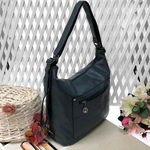 Функциональная сумка-рюкзак Satisfay из качественной матовой эко-кожи дымчато-голубого цвета.