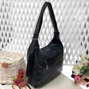 Функциональная сумка-рюкзак Satisfay из качественной матовой эко-кожи цвета тёмный индиго.