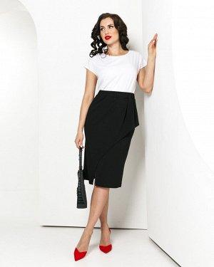 """Юбка Элегантная юбка из трикотажного полотна в классическом черном цвете! Абсолютно базовая модель для гардероба, но как Вы любите """"с изюминкой""""! * Юбка-карандаш с баской, комфортная посадка благодаря"""