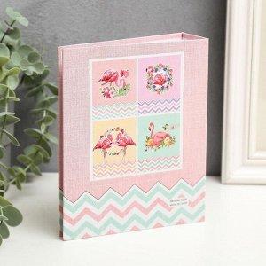 """Фотоальбом на 40 фото 10х15 см """"Фламинго в цветах"""" блёстки, в коробке МИКС 17х14х5 см"""