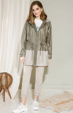 Куртка Куртка свободного силуэта двухцветная без подкладки. Перед с центральной застежкой на молнию и закрывающей ее планкой на кнопках. Верхняя часть отлетная соединяется с нижней кулисой со шнурком.