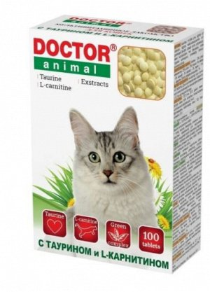 Мультивитаминное лакомство DOCTOR Animal с таурином и L-карнитином для кошек 100 табл