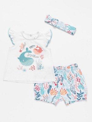 Комплект из 3-х пр. для девочек: кофточка, шорты и повязка