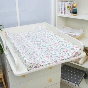 Доска пеленальная Polini Kids «Единорог Сладости», для детских кроватей, розовый, 78х47 см
